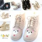 Flat Hand Painted Animals Girl Student Snow Short Boots Casual Winter Lace Shoes