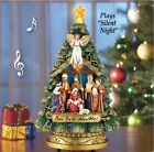 LED Musical Tree Nativity Christmas Tabletop Centerpiece Silent Night Wreath Gif