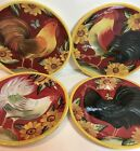 Susan Winget by Cracker Barrel Sunflowers Assorted Roosters Set of 4 Salad Plate