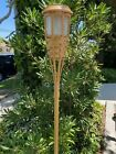 4 5 LEDs Solar Flickering Amber Bamboo Tiki Torch Landscape Stake Light 62 Tall