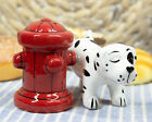 Peeing Dalmatian With Fire Hydrant Ceramic Salt Pepper Shaker Magnetic Set