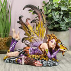 Purple Fairy with Gold Butterfly Collectible Figurine Decor 625L Statue