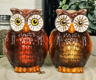 Nocturnal Tropical Great Horned Owl Couple Ceramic Salt Pepper Shakers Set Fi
