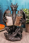 Medieval Gothic Dragon Blackened Spice Salt Pepper Shaker Set Holder Figurine
