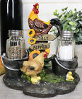 Collectibles Farm Barnyard Rooster Hen and Chicks Family Salt Pepper Shaker Set
