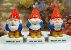 Cute Gnomes See Hear Speak no Evil Ceramic Salt Pepper Shakers And Toothpick