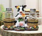 Bovine Cow With Two Country Barrels Decorative Glass Salt Pepper Shaker Set