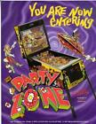 Bally PARTY ZONE 1991 Original Pinball Machine Promo Sale Flyer