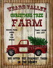 Primitive Christmas Tree Farm Old Red Truck Holiday Folk Art PRINT ONLY 8x10