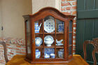 Antique Vintage French Walnut Wall Cabinet Vitrine Display Curio Glass Dome Top