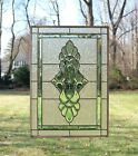 Handcrafted stained glass Green  Clear Beveled window panel 19 x 27