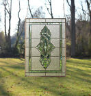 Green transparent stained glass Clear Beveled window panel 19 x 27