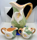 Fitz & Floyd 1987 Calla Lily Pitcher Creamer Covered Sugar Bowl Set Pristine