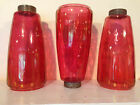 Set of Three 'Cranberry' Glass Globes for Tension Pole Lamp