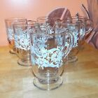Libbey Snowflakes  Swirls set of 6 Mugs Glasses Footed Cups Excellent