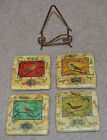 Set of 4 - Stone Tile Bird Themed Coasters with Metal Stand by Kate McRostie