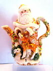 Fitz and Floyd Classics Snowy Woods Santa with Deer Teapot