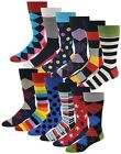 12 Pairs Mens Colorful Funky Design Fashion Premium Cotton Dress Socks