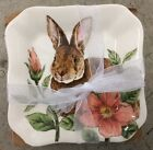 MAXCERA PINK FLORAL BUNNY APPETIZER SNACK PLATES SET OF 4 EASTER