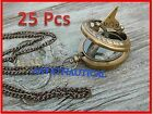 Lot of 25 Necklace Antiqued Brass Sundial Compass 47mm-Nautical Jewelry