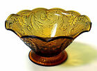 Vintage Indiana Glass Amber Tiara Daisy Ruffle Edge Fluted Large Serving Bowl