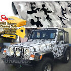 Snow Camo Camouflage Vinyl Film Wrap Decal Air Bubble Free Black White Gr