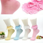 POP Vintage Lace Ruffle Frilly Ankle Short Socks Ladies Princess Girl Stockings