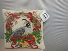 NWT CHRISTMAS LATCH HOOK PILLOW PHEASANT WREATH  by Stephanie Stouffer
