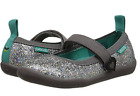 CHOOZE Sparkly Silver Iridescent Mary Janes Velcro Closure Metallic Play Shoes