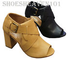 NEW Womens Thick High Heel Sandal Open Toe Buckle Dress Shoes