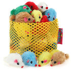 Chiwava Pet 24PCS Catnip Furry Cat Toy Mice Rattle Mouse Kitten Interactive Play