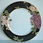 Fitz and Floyd Cloisonne Peony Black Bread and Butter Plate