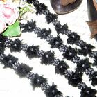 1y FRENCH CHENILLE ROCOCO TRIM BLACK GRAY ROSETTE VTG ANTQ RIBBON DOLL JACQUARD