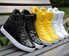 Fashion Mens Lace Up Sneakers dance High Top Lace Up Punk Goth Casual Shoes