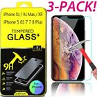 3Pk Premium Real Tempered Glass Screen Protector for iPhone XS MAX XR X 8 7 Plus