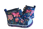 Baby Toddler Girl Navy Blue Boots Shoes Floral Butterfly Canvas Design Sizes 2 7