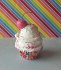 ICE CREAM FAKE CUPCAKE PHOTO PROP WITH SUGARY CANDY PINK CHERRY ON TOP