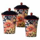 Certified International Multi Watercolor Poppies 3-Piece Ceramic Canister Set