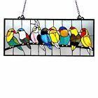 Birds Design Art Glass Window Panel Hanging Stained Home Decor New Free Shipping