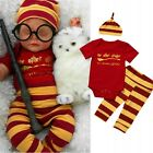 Newborn Infant Baby Girls Boys Clothes Harry Potter Romper+Pants+Hat Outfits Set