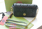 New Tory Burch Robinson Patchwork Black Crossbody Small Bag with Golden Chain