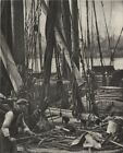 LONDON. At the foot of the Mast on a Thames Barge 1926 old vintage print