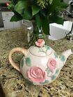 Fitz & Floyd Blushing Rose teapot - Retired 1987 - pink roses - Excellent Condit