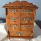ANTIQUE GERMAN SPICE CABINET 7 DRAWER BRASS KNOBS METAL SPICE NAME TAGS