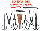 BONSAI 10pc Tool Set Kit Concave Cutter Wire Root Rakes Shears and Trimmers