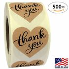 15 Heart Shape Kraft Paper Thank You Adhesive Label 500 Stickers per Roll