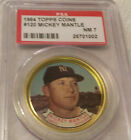1964 TOPPS BASEBALL COIN # 120 MICKEY MANTLE PSA 7 NM SHARP COIN