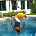 Touco Colorful Tropical Paradise Toucan Decorative Art Sculpture On Ring Perch