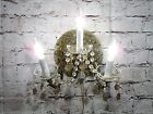 Antique Vintage Sconce Bronze Ornate 3 Light Crystal Bobeches Rewired