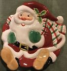 FITZ and FLOYD Plaid CHRISTMAS SANTA Cookie Canape Plate NIB